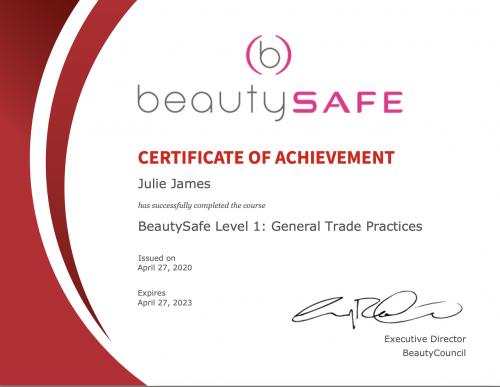 Beauty Safe Certificate